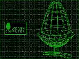 In game image of 3D Acorn on the Acorn Atom.