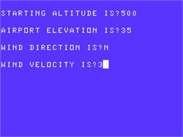 In game image of 747 Flight on the Acorn Atom.
