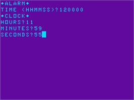 In game image of Alarm Clock on the Acorn Atom.