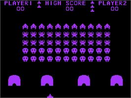 In game image of Atom Invaders on the Acorn Atom.