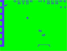 In game image of Bouncing Babies on the Acorn Atom.