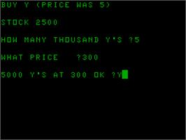 In game image of Business Game on the Acorn Atom.