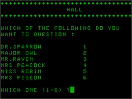 In game image of Cluedo on the Acorn Atom.