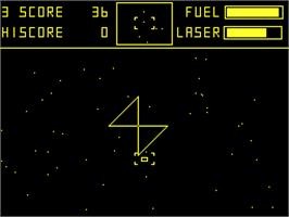 In game image of Cylon Attack on the Acorn Atom.