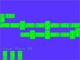 In game image of Dominoes on the Acorn Atom.