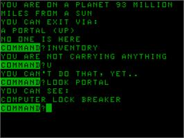 In game image of Intergalactic on the Acorn Atom.