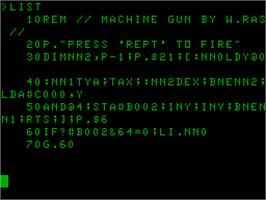 In game image of Machine Gun on the Acorn Atom.