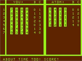 In game image of Mastermind on the Acorn Atom.