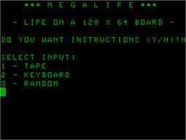 In game image of Megalife on the Acorn Atom.