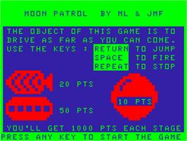 In game image of Moon Patrol on the Acorn Atom.