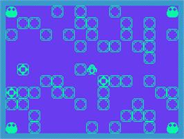 In game image of Pengo on the Acorn Atom.
