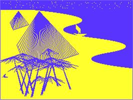 In game image of Piramide on the Acorn Atom.