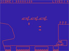 In game image of Plane & Tank Battle on the Acorn Atom.