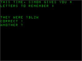 In game image of Simon on the Acorn Atom.