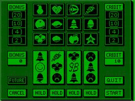 In game image of Smiley's Fruitmachine on the Acorn Atom.