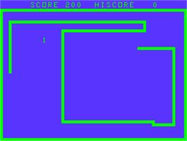 In game image of Snake on the Acorn Atom.