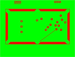In game image of Snooker on the Acorn Atom.