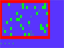 In game image of Super Zombie on the Acorn Atom.