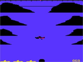 In game image of Torpedo Run on the Acorn Atom.