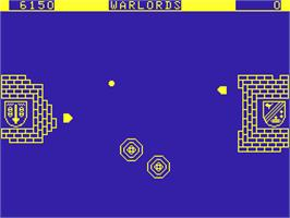 In game image of Warlords on the Acorn Atom.