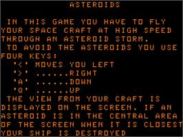 Title screen of 3D Asteroids on the Acorn Atom.