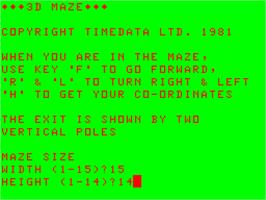 Title screen of 3D Maze on the Acorn Atom.
