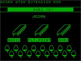 Title screen of AXR1 Demo on the Acorn Atom.