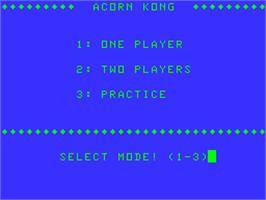 Title screen of Acorn Kong on the Acorn Atom.