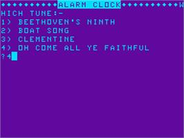 Title screen of Alarm Clock on the Acorn Atom.