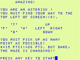 Title screen of Amazing on the Acorn Atom.