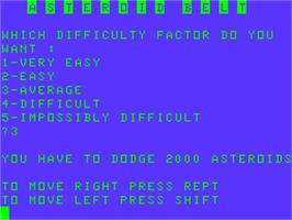 Title screen of Asteroid Belt on the Acorn Atom.