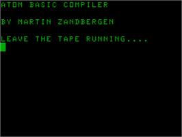 Title screen of Atom Basic Compiler on the Acorn Atom.