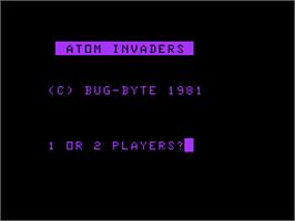 Title screen of Atom Invaders on the Acorn Atom.