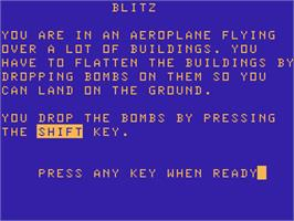 Title screen of Blitz on the Acorn Atom.