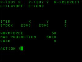 Title screen of Business Game on the Acorn Atom.