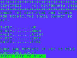Title screen of Centipede on the Acorn Atom.