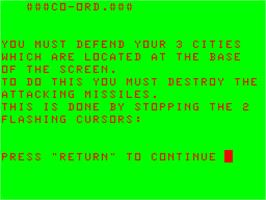 Title screen of Co. Ord on the Acorn Atom.