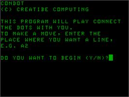 Title screen of Condot on the Acorn Atom.