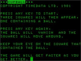 Title screen of Cupball on the Acorn Atom.