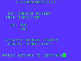 Title screen of Dominoes on the Acorn Atom.