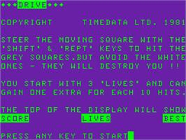 Title screen of Drive on the Acorn Atom.
