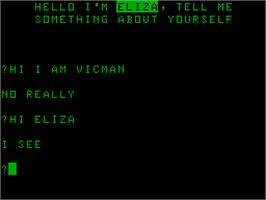 Title screen of Eliza on the Acorn Atom.