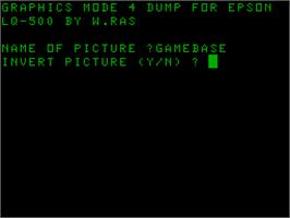 Title screen of GDump for Epson LQ-500 on the Acorn Atom.