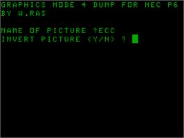 Title screen of GDump for NEC P6 on the Acorn Atom.