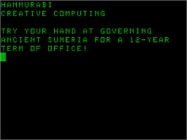 Title screen of Hammurabi on the Acorn Atom.