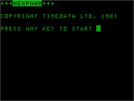 Title screen of Hexpawn on the Acorn Atom.
