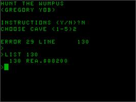 Title screen of Hunt the Wumpus on the Acorn Atom.