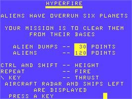 Title screen of Hyperfire on the Acorn Atom.