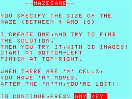Title screen of Maze Game on the Acorn Atom.