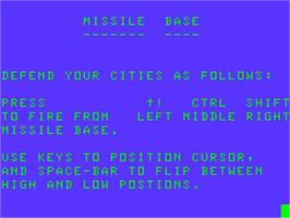 Title screen of Missile Base on the Acorn Atom.